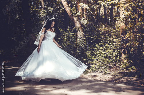 Fotografie, Obraz  A beautiful bride swirls in a lavish wedding dress in the middle of the park, to