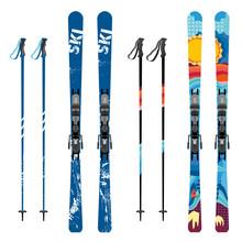 Vector Mountain Ski And Sticks...