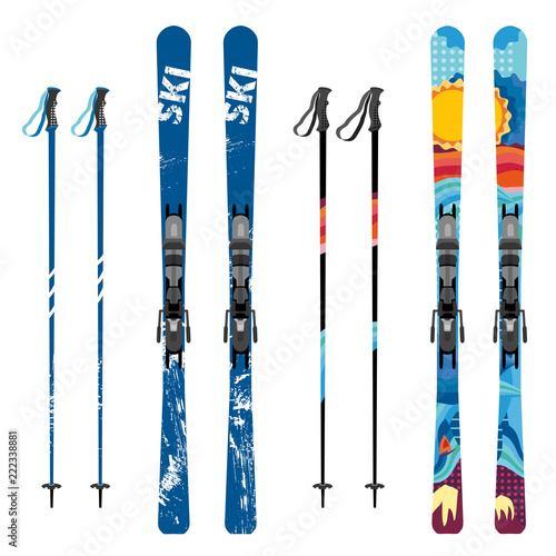 Fotomural  Vector mountain ski and sticks detailed on white background