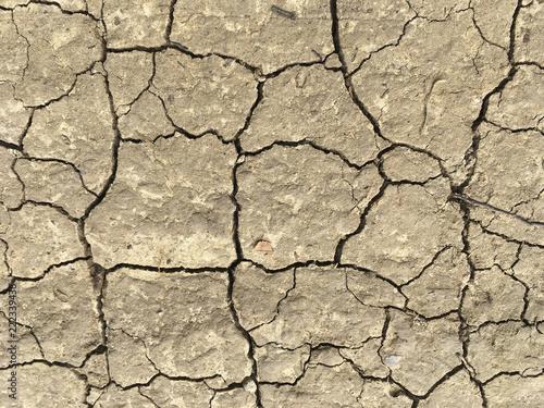 Foto  Ausgetrockneter Boden mit Risse
