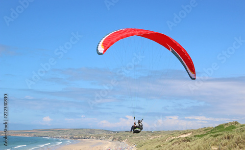 Paraglider above Hayle Beach, Cornwall
