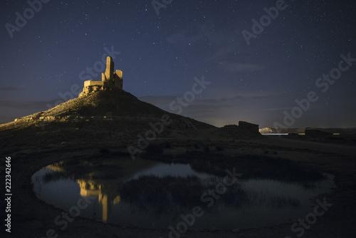 Medieval castle, night photography, Castillo de Montuenga, Soria, Spain