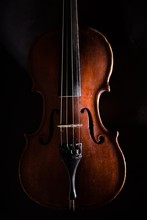 Front View Of A Violin, Isolated On Black