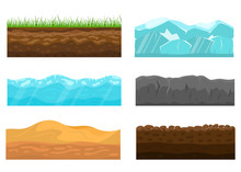Color Cross Section Of Ground Set. Vector
