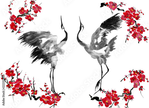 Two enamored japanese cranes bird.  Red stylized flowers of plum mei, wild apricots and sakura . Watercolor and ink illustration in style sumi-e, u-sin, go-hua Oriental traditional painting.