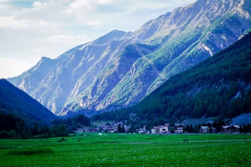 view of small alpine town of cogne, valle d'aosta, italy
