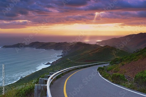 Beautiful colorful sunset viewed from the costal road, pacific coast near San Fr Canvas Print