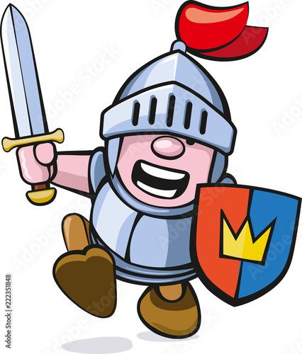 niedliche rennende Ritterfigur mit Schwert und Schild Canvas Print