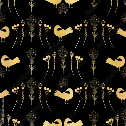 Fotografija  Luxury Gold Black Folk Art Daisies Birds Seamless Pattern Vector Texture, Illust