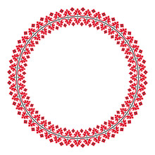 Traditional Ethnic Round Geometric Embroidered Pattern