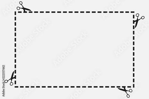 Fotografie, Obraz  cut, discontinuous, cut, separate, indication, scissors, frame, maple, blank, co