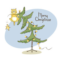 Cat On The Christmas Tree / Vector Illustration, Funny Cat Climbed Onto The Top And Hung