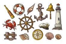 Anchor, Wheel, Bollard, Hat, Compass Rose, Shell, Crab, Lighthouse Engraving