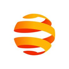 Logotipo Esfera Tridimensional Abstracta Con Espiral En Color Naranja