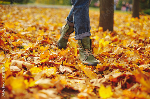 Valokuva  Leather shoes walking on fall leaves Outdoor