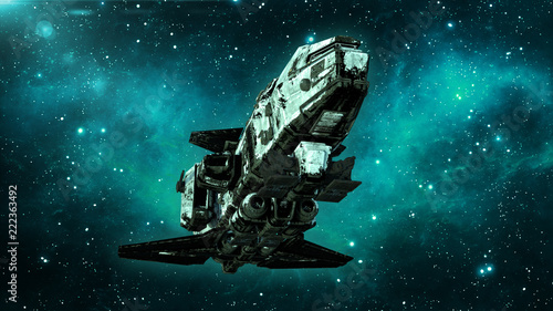 Fotografia Old alien spaceship in deep space, dirty spacecraft flying in the Universe with