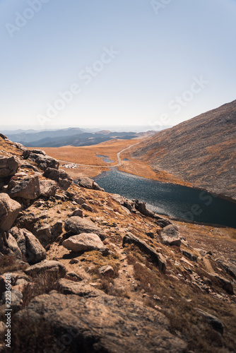Landscape view of the lake at the base of Mount Evans in Colorado.
