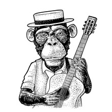 Monkey Dressed Hat And Shirt Holding Guitar. Engraving