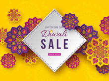 Sale Poster Or Banner For Festival Of Lights - Diwali. Paper Cut Style Of Indian Rangoli. Yellow Background. Vector Illustration.