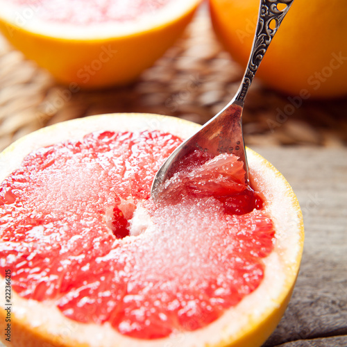 Halved Pink Grapefruit -  perfect healthy snack.