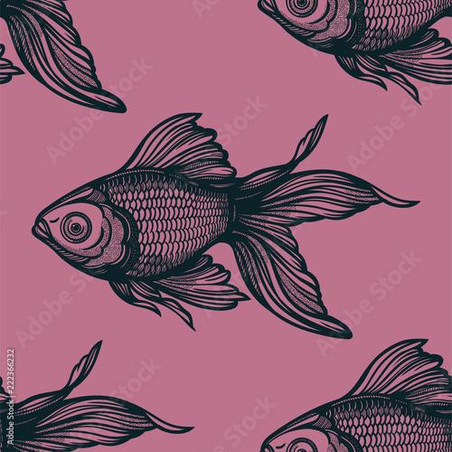 Seamless pattern with goldfish. Fototapeta
