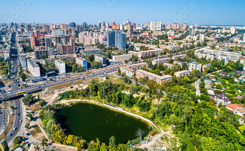 Poster Centraal Europa Aerial view of Kiev with residential buildings and Hlinka Lake