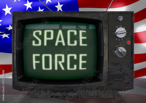 retro vintage television, parody on USA space force Canvas Print