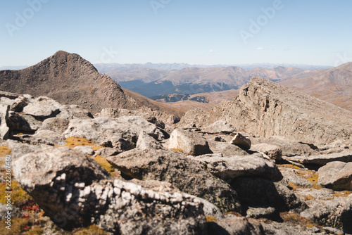 Landscape view of the Rocky Mountains from the top of Mount Evans in Colorado.