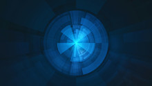 Abstract Creativity Blue Fractal Technological Background With Crossed Circles.