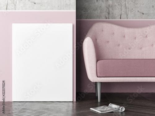 Fototapety, obrazy: Mock up poster, Close up composition, poster and rose sofa, 3d render, 3d illustration