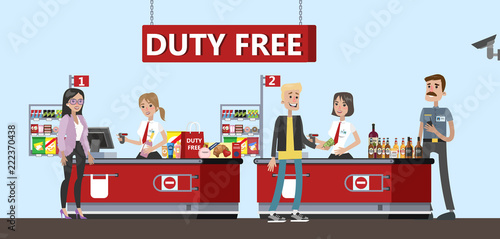 Happy people standing at the counter in duty free store Canvas