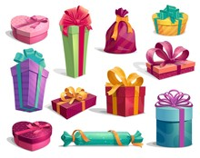 Gift Boxes With Bows And Ribbons Holiday Icons