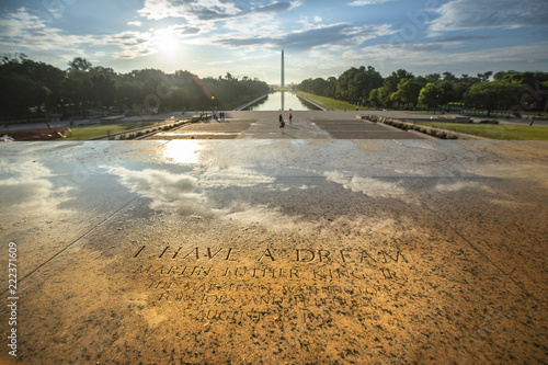 Photo Etched into the stone on the steps of the Lincoln Memorial, a marker of the exact spot Dr