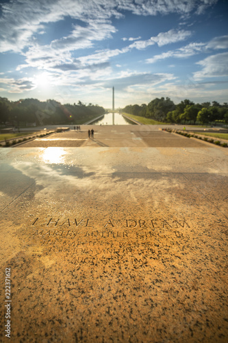 Fotografie, Tablou Etched into the stone on the steps of the Lincoln Memorial, a marker of the exact spot Dr