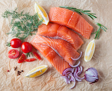 Raw Salmon Fillets With Spices And Vegetables, Composition. Top View.