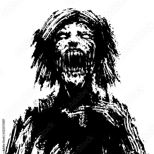 Fototapeta Creepy zombie woman head. Vector illustration.