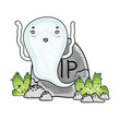 grated funny ghost character with rip stone