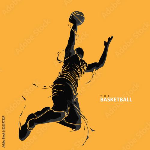 Valokuvatapetti basketball player splash silhouette