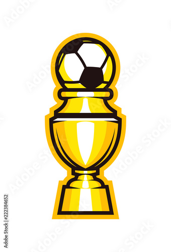 Fotografie, Tablou  Golden cup soccer trophy icon. Football goblet