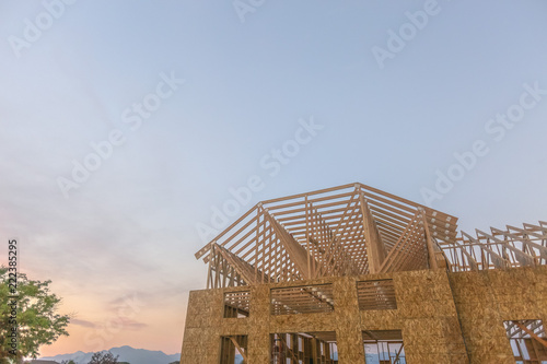 Fotografie, Obraz  Wooden building with copy space in the sky