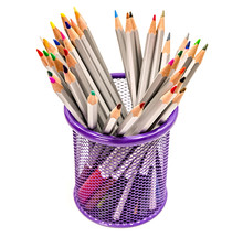 Colorful Pencils In A Purple Holder, School Or Office Supplies Isolated On White