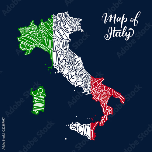 Italy regions map in vector sketch lettering Tablou Canvas