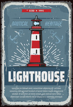 Nautical Lighthouse On Sea Cliff Vintage Poster