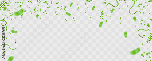 Abstract background party celebration green confetti.