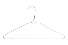 Silver Colored Wire Clothes Hanger Isolated On A White Background
