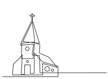 Continuous Line Drawing Of Christian Churches Building Concept, Symbol, Construction,illustration Simple.
