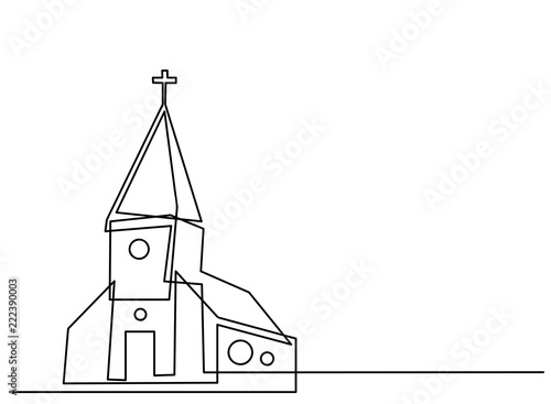 Carta da parati Continuous line drawing of Christian churches building concept, symbol, construction,illustration simple
