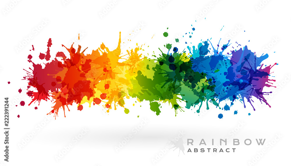 Fototapeta Rainbow creative horizontal banner from paint splashes.