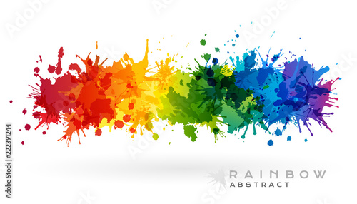 Autocollant pour porte Forme Rainbow creative horizontal banner from paint splashes.