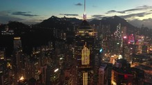 4K Aerial View Footage Of Hong Kong City In Sunset
